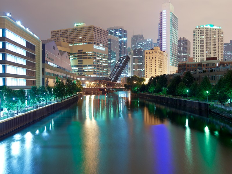 Chicago River (North Branch) at West Grand Avenue, Chicago, 2011