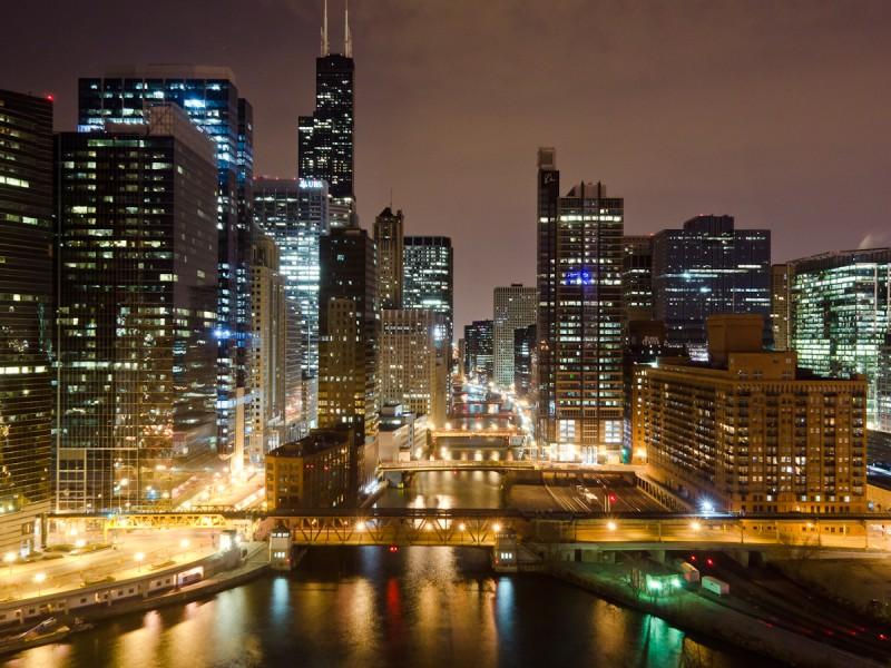 Chicago River at Wolf Point, Chicago, 2011